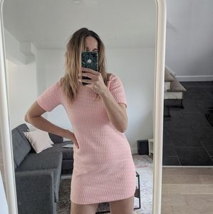 Pink Neon Stitching Mini 60s Dress